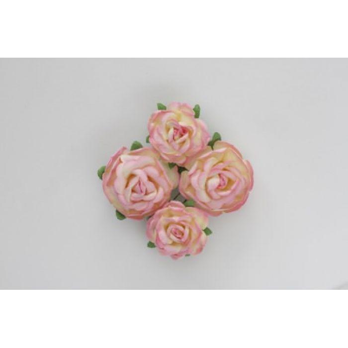 Цветы чайной розы розово-желтые для скрапбукинга