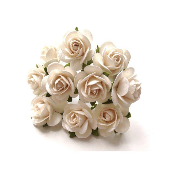 Розы белые 25 мм для скрапбукинга