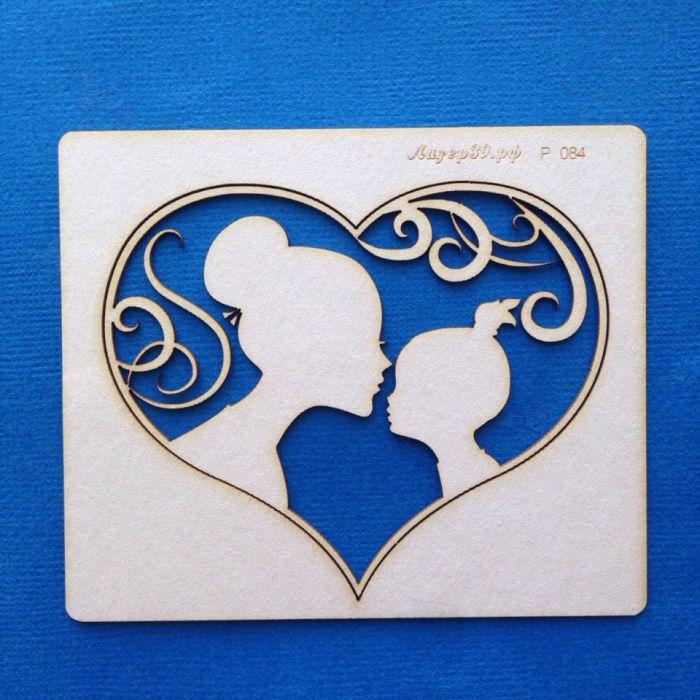 Чипборд  мама с дочкой в сердце для скрапбукинга