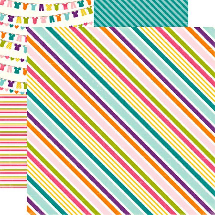 Бумага Suzy Stripe, коллекция Little Girl для скрапбукинга