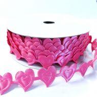 Лента сердца ярко-розовые 20мм